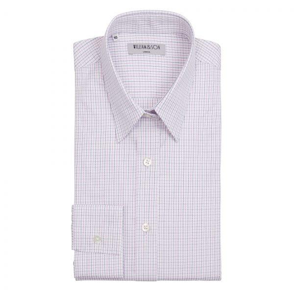 Fine Grid white, navy & purple